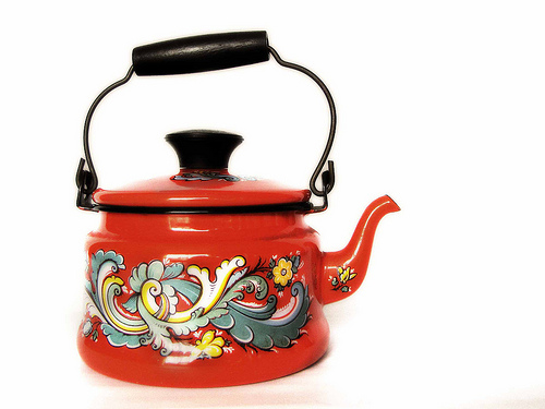 Enamel coated tea kettle